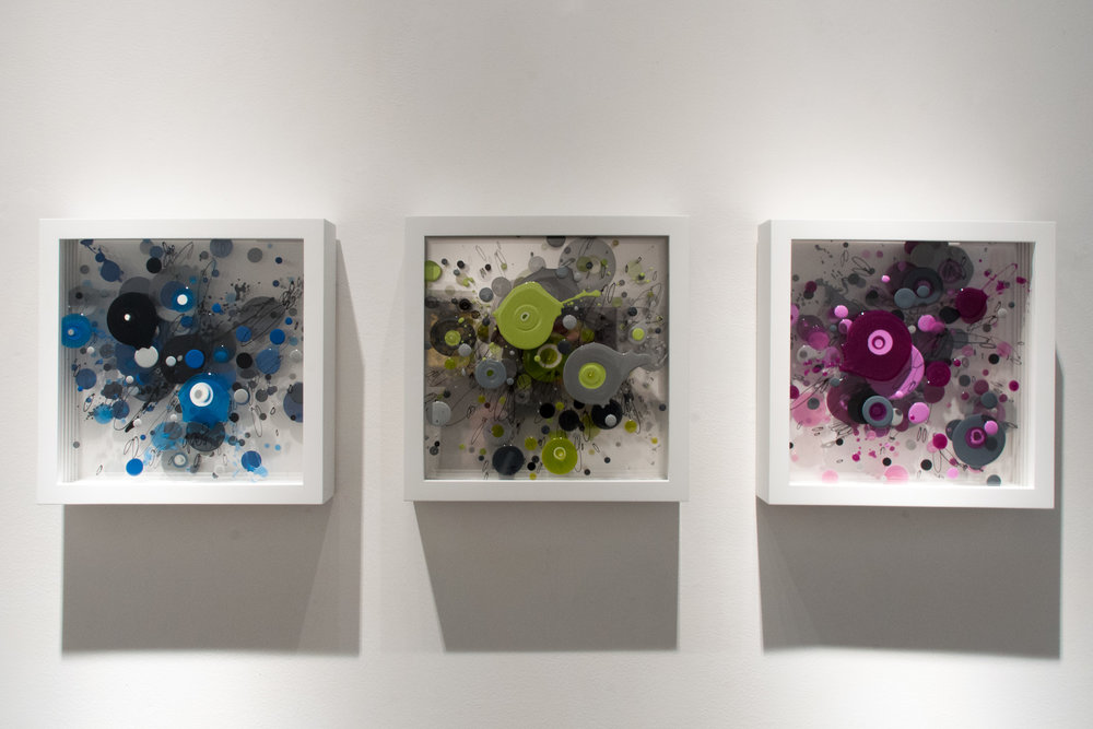 "(left to right) ""CPO6"" WGR 061G, ""CPO7"" WGR 062G, & ""CPO8"" WGR 063G. Enamel on layered plexiglass, 14 x 14 x 3 inches."