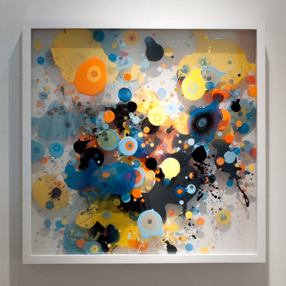 """CPO2"" enamel on layered plexiglass. 36 x 36 x 3.5 inches. WGR 057G"