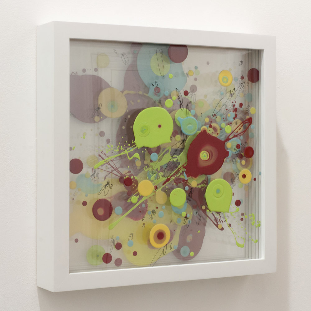 """CPT2"" enamel on layered plexiglass, 20 x 20 x 3.5 inches. WGR 054G"