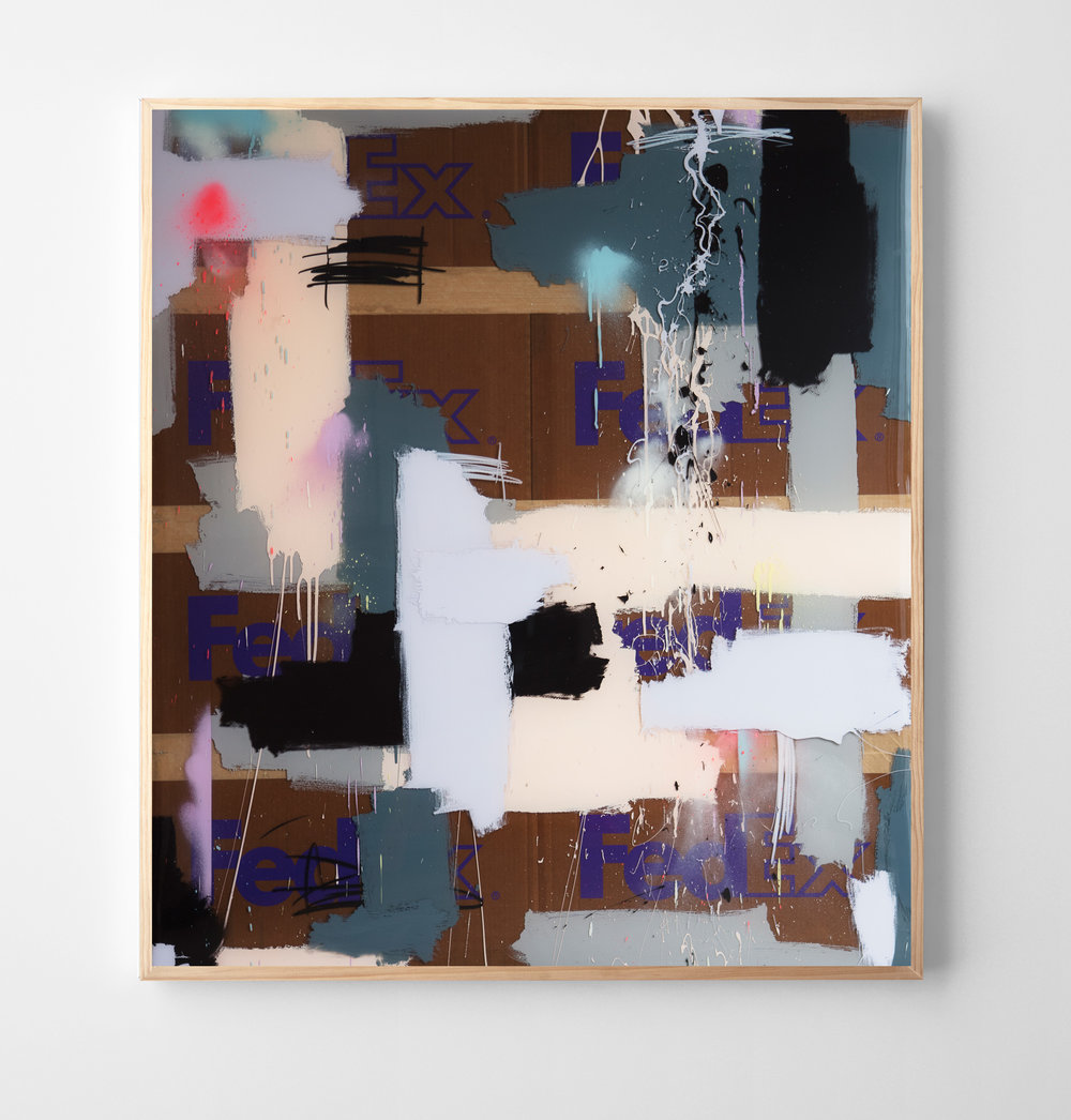 """Next-Day Air"" mixed media with layered epoxy resin. 50 x 57 inches. JBR 132G"