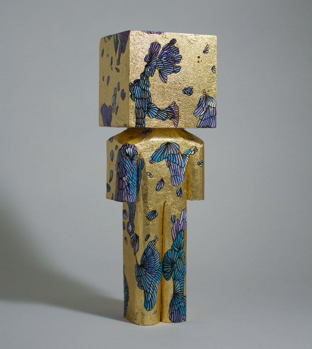 """Bathed in Gold"" Collaboration with Lela Brunet. Basswood, acrylic, gold leaf, and ink. 7 x 2.25 x 2 inches. CSK 016G"