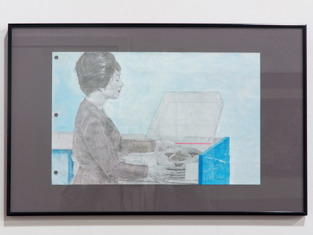 1964 (IBM360) silverpoint ink & acrylic on paper 11 x 18 inches JKO 096G