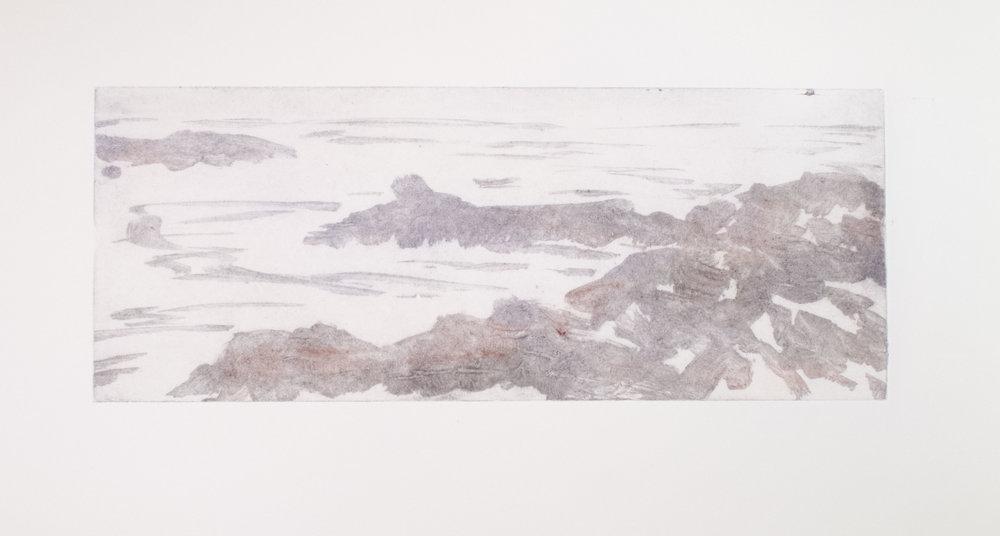 Sea Cliffs collagraph monoprint 20 x 30 inches ASC 122G