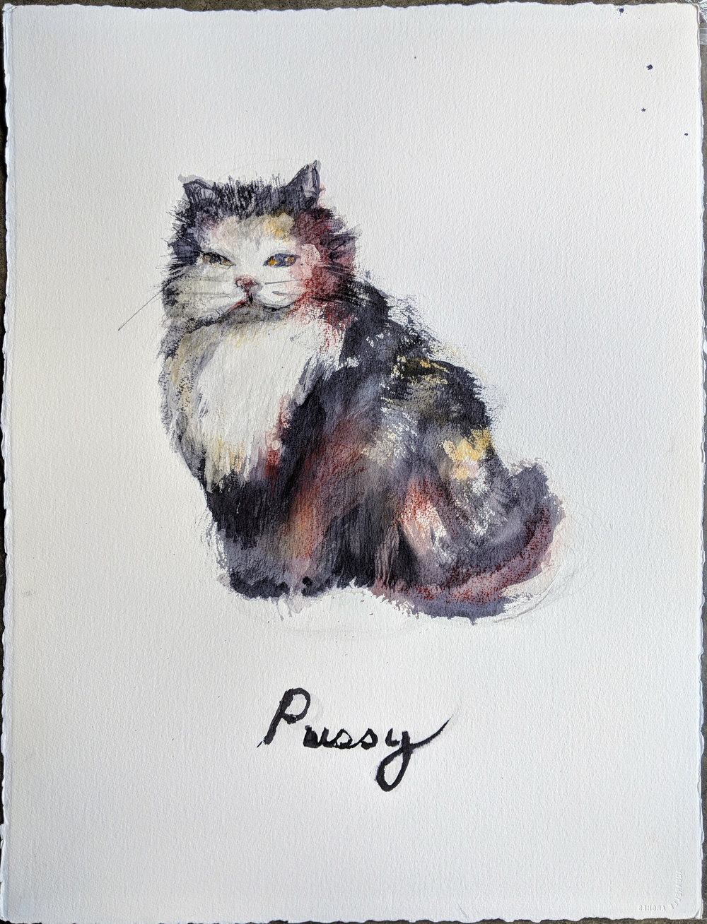 From My Pussy Prismacolor and Graphite on collage 23 x 30 inches LJA 194G