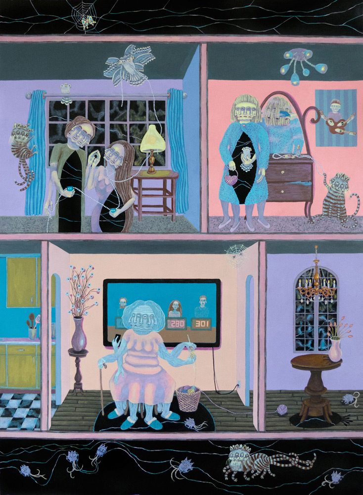 "Marie Porterfield Barry   At Home with the Polyglots , Acrylic on Paper, 30"" x 22"""