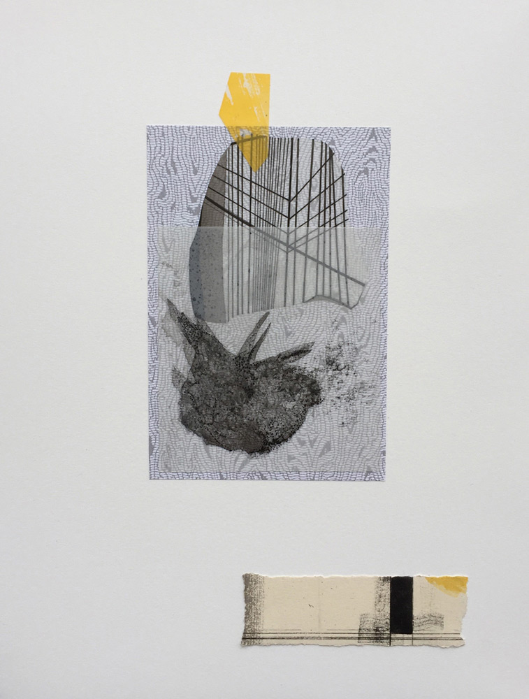 Joe Camoosa  2018_ Remnant Traces _Inks, Mylar & cut paper on Arches_11.25 x 8.5 inches