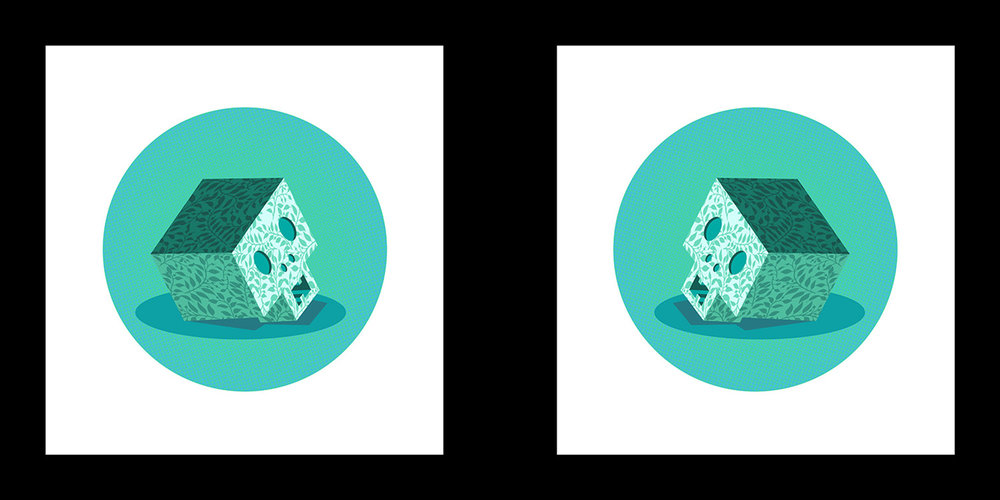 "Mark Hosford   Blue Memento Mori 1&2  Screenprint 12.5"" x 25"""
