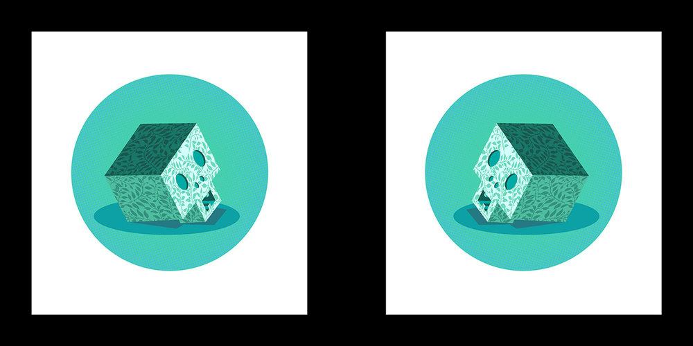 "Mark Hosford   Blue Memento Mori 1&2  Screenprint 12.5"" x 25"""