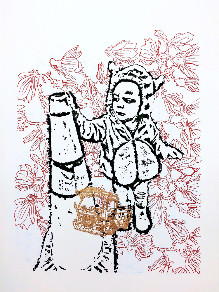 "Valerie Zimany   The Tinker , Silkscreened Ink and Bronze Powder, 18"" x 24"""