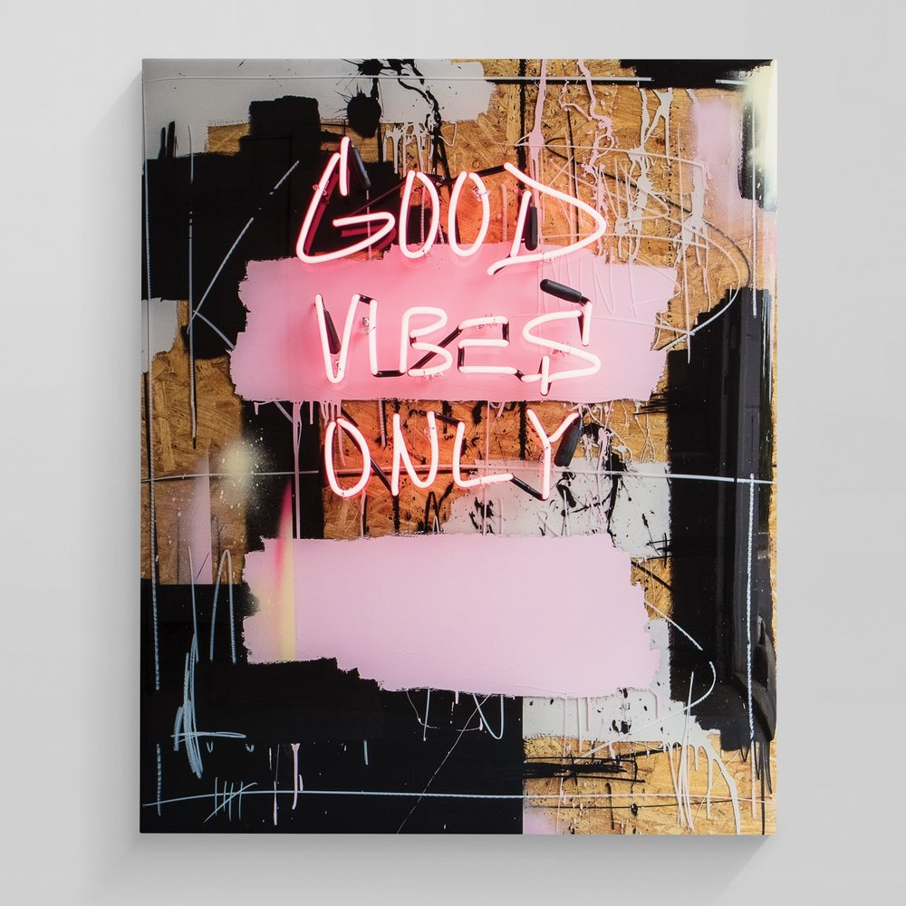 good vibes only  mixed media with layered epoxy resin  40 x 48 inches JBR 146G
