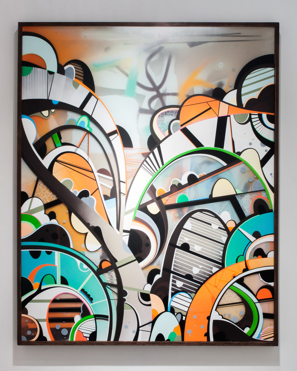 Battles  mixed media on double layered Plexiglas  48 x 60 inches PHA 012G