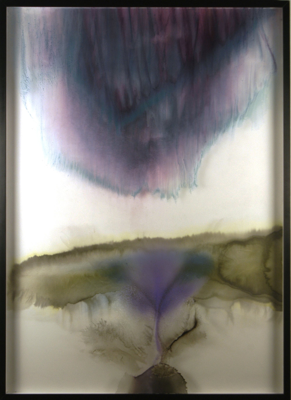 Aurora  sumi ink and watercolor on glass and gesso panel  68 x 49 inches ERO 101G