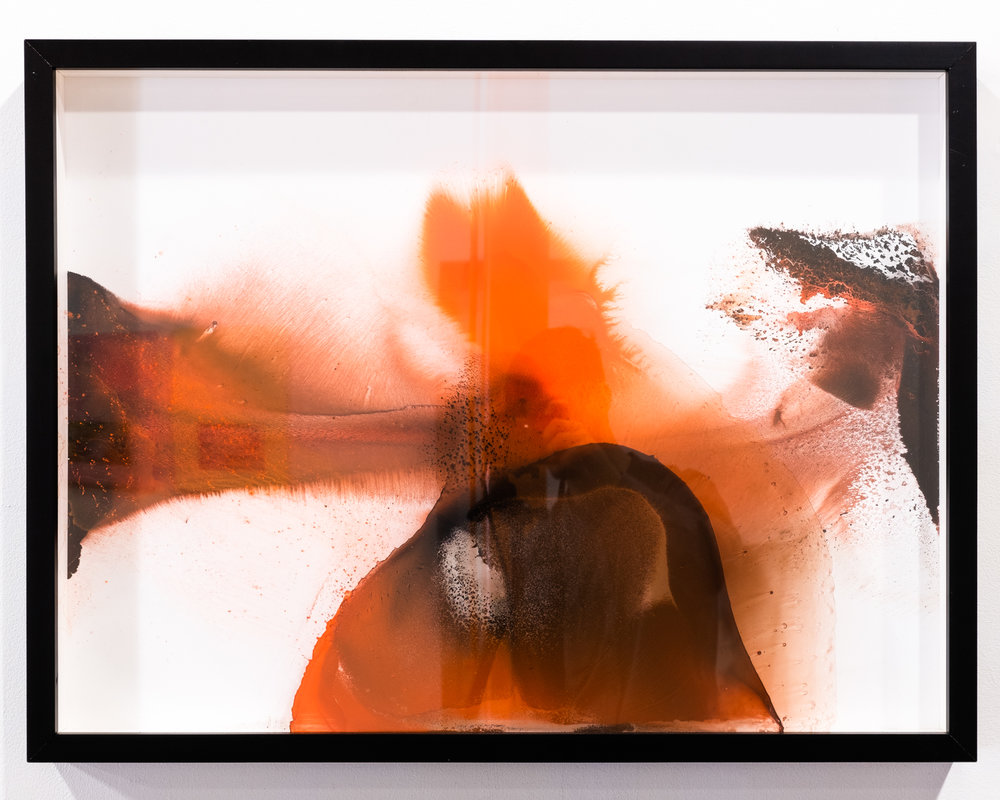Ballet Rouge (diptych) sumi ink and watercolor on glass and gesso panel 25.5 x 33 inches ERO 085G