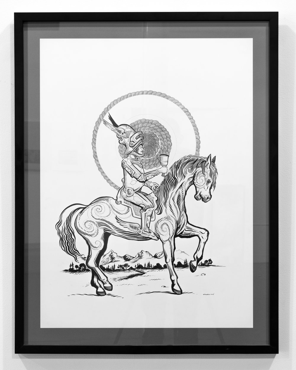 Sam Parker  Knight of Cups ink on paper 30 x 20 inches SPA 039G