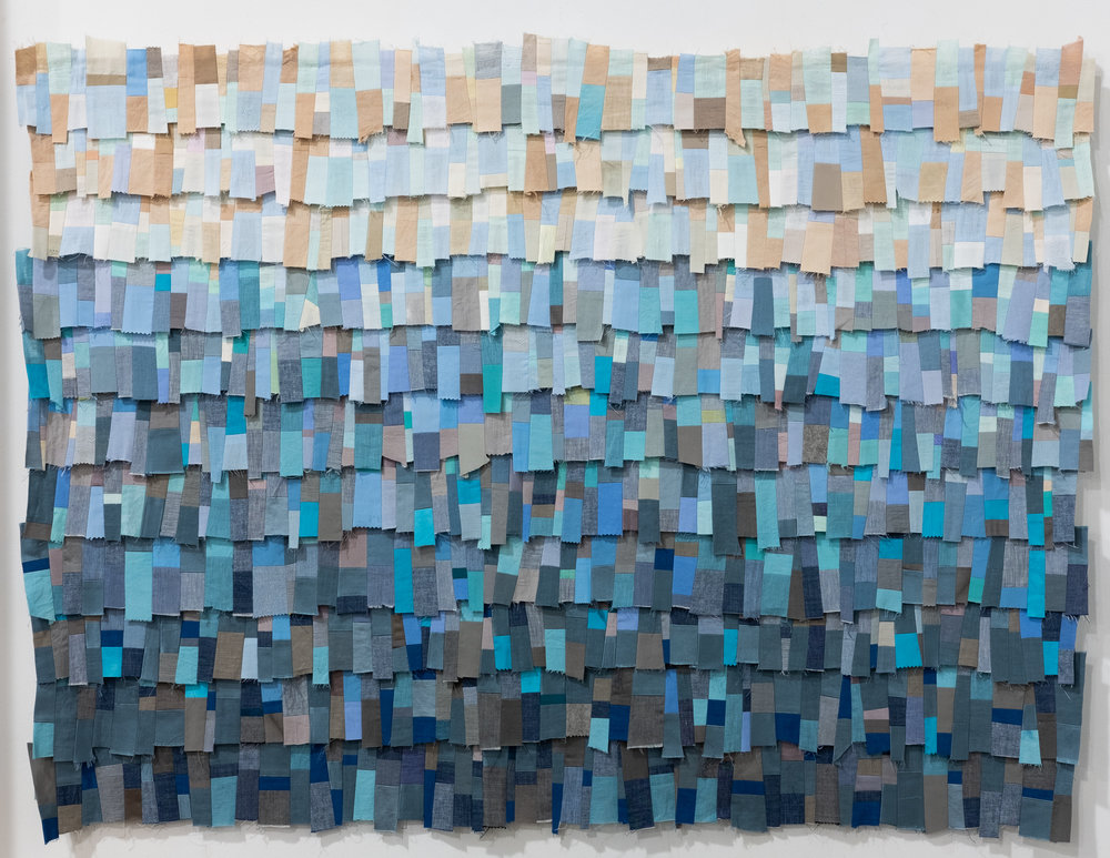 Maggie Dimmick   Ocean  rescued silks, linens, cottons, polyester thread, recycled polyester batting 36 x 49.5 inches MDI 003G