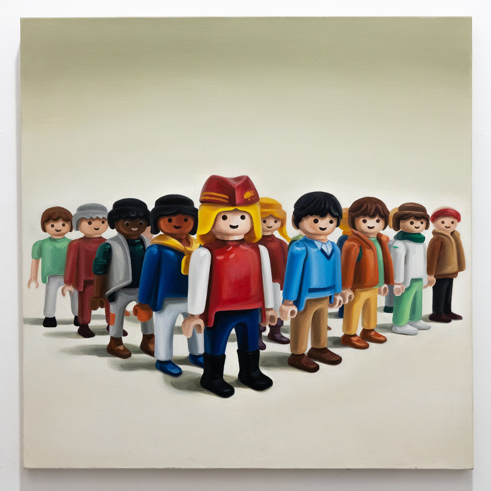 Inkyeong Baek   Playmobils 13  oil on canvas, 36 x 36 inches IBA 003G