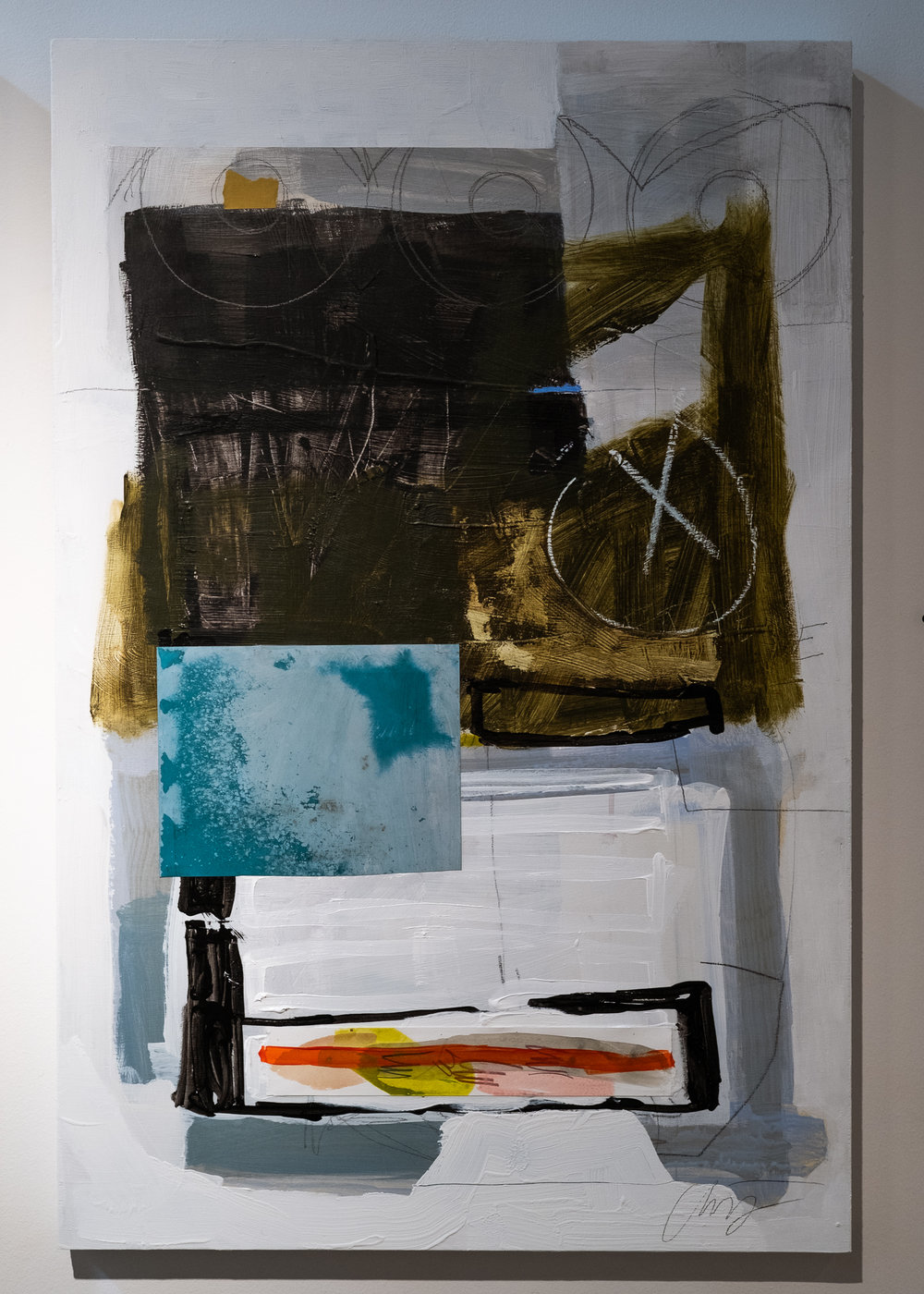 Allison James   Lost & Found II  acrylic, oil stick, graphite, charcoal, house paint, medium, paper, ink 36 x 24 inches AJM 002G
