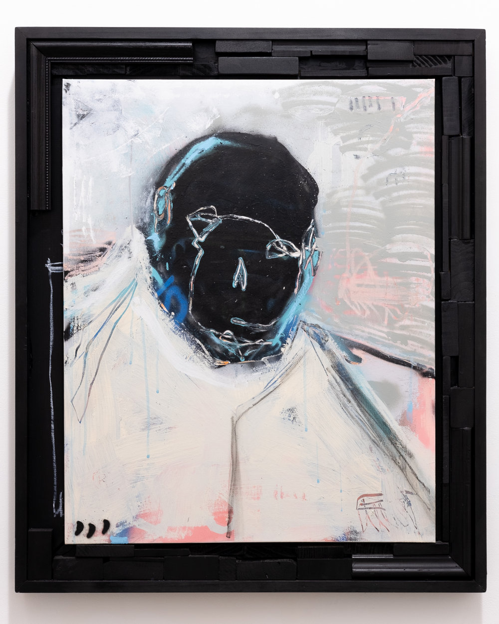 "Lee Arnett ""He was Framed"" Aerosol, acrylic, ink, charcoal, oil stick on cardboard 30 x 36 inches LAR 015G"