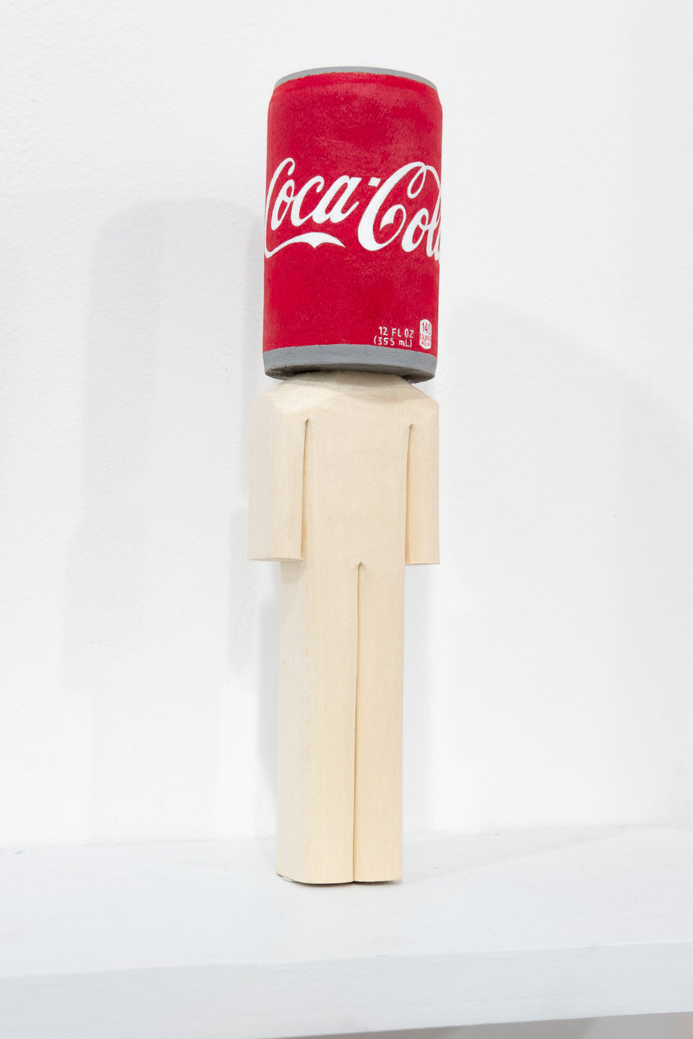 "Blockhead ""Coke Head"" acrylic and basswood 2.25 x 2.25 x 9.5 inches CSK 037G"