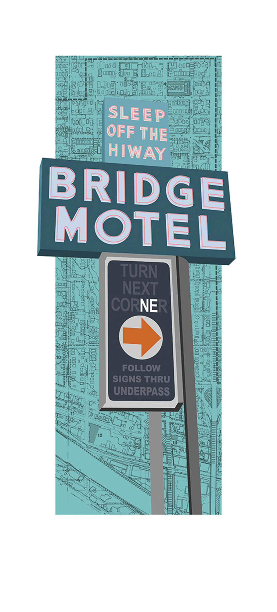 "Amy Douglas ""Bridge Motel"" Hand-pulled serigraph on Stonehenge Warm White 15.25 x 27.5 inches 1/13 ADO 011G"