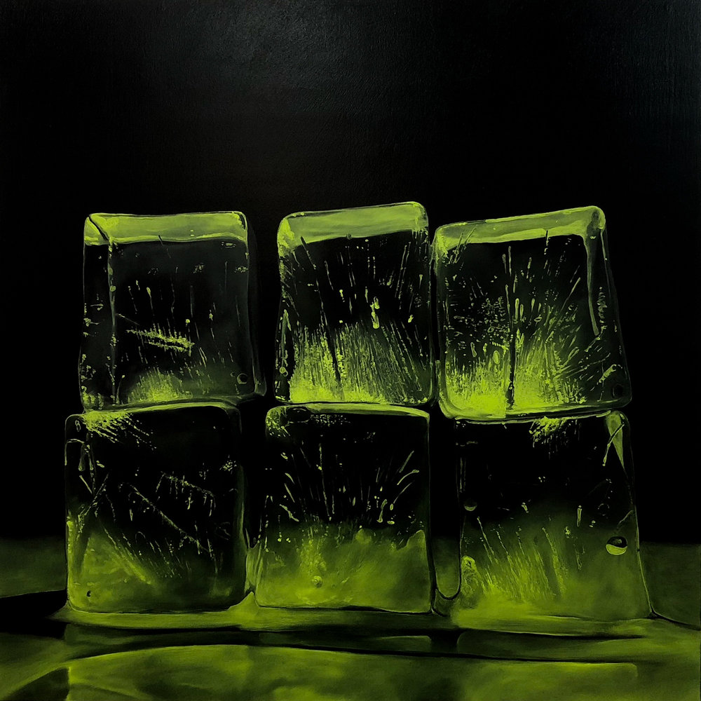 "Kevin Palme ""How Fragile We Are (Green)"" Oil on canvas 24 x 24 inches KPA 025G"