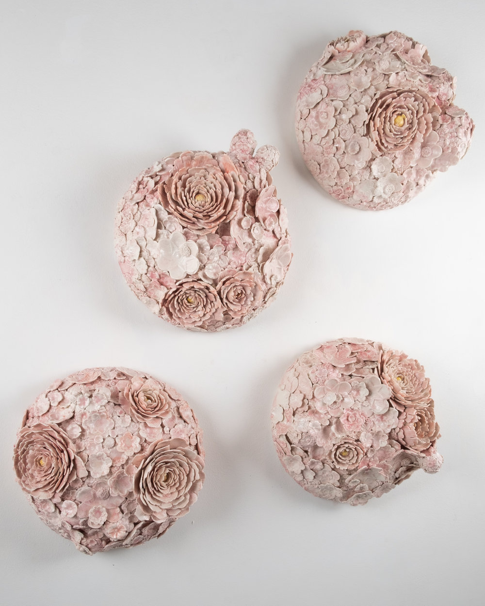 Hanazume (Packed Florals) Roundels I-IV   Wheel-thrown and handbuilt porcelain with press-molded sprigs from three-dimensional model prints and hand-modelled florals, glaze  13 x 13 x 8 inches VZI 002G