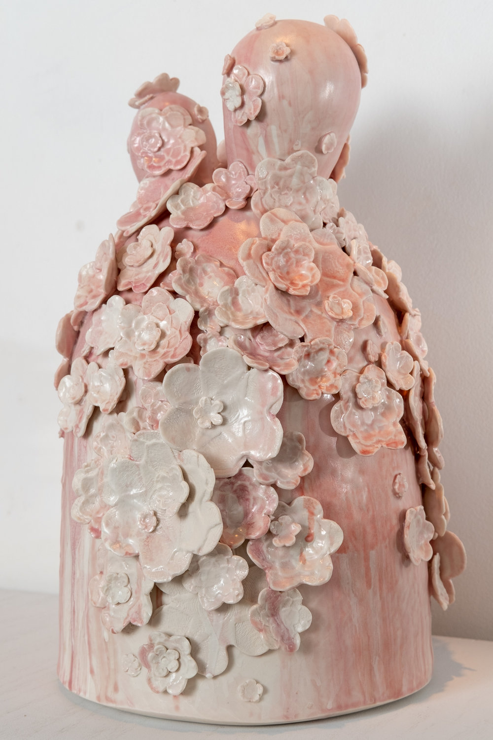 Hanazume (Packed Florals) with Three Ears   Wheel-thrown and handbuilt porcelain with press-molded sprigs from three-dimensional model prints, glaze  17 x 9.5 x 9.5 inches VZI 009G