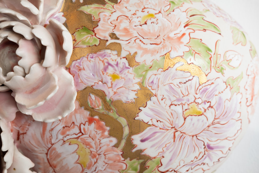 Peonies   Handbuilt porcelain with hand-molded sprigs, glaze, overglaze drawing, raised Kutani enamels, gold  17 x 11 x 8 inches VZI 010G  (detail)