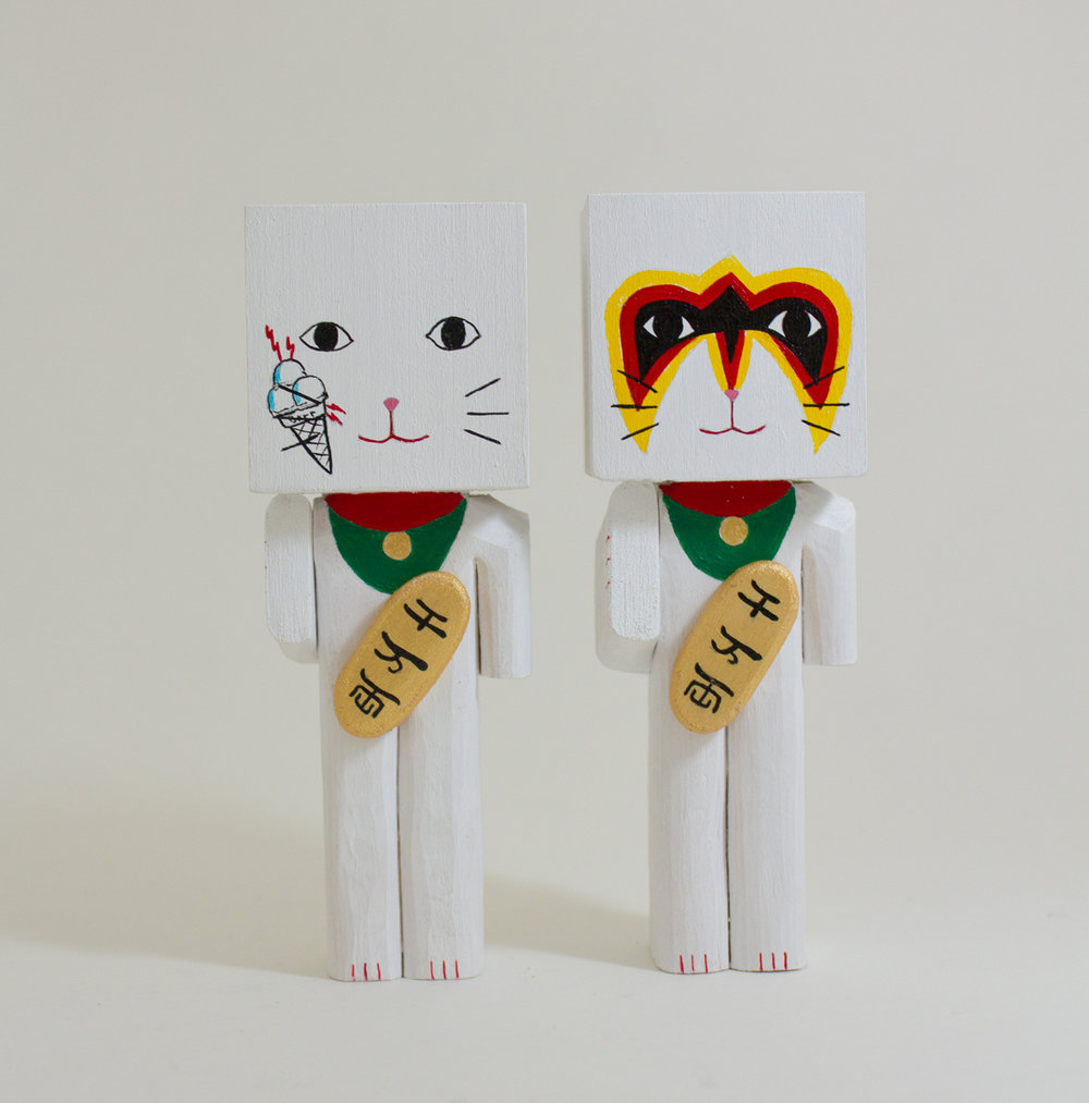 Gucci Cat   basswood and acrylic 1.5 x 1.5 x 4.5 inches  CSK 042G  Ultimate Warrior Cat   basswood and acrylic 1.5 x 1.5 x 4.5 inches  CSK 043G