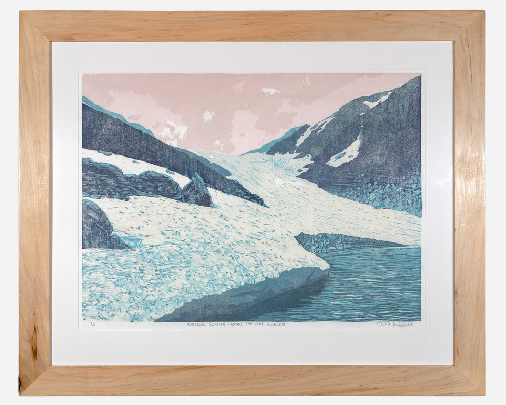 Andrews Glacier    Framed woodcut print on Okawara Washi paper   32 x 27 inches TAN 033G