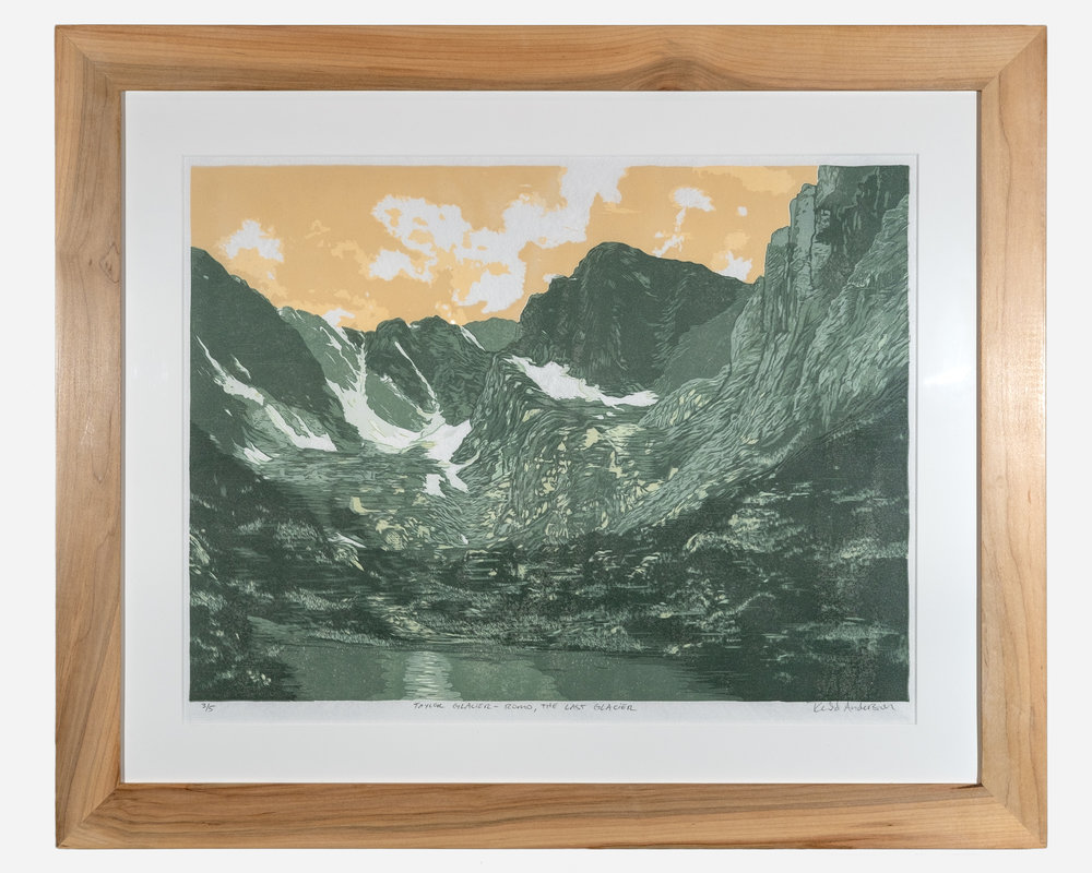 Taylor Glacier    Framed woodcut print on Okawara Washi paper   32 x 27 inches TAN 034G