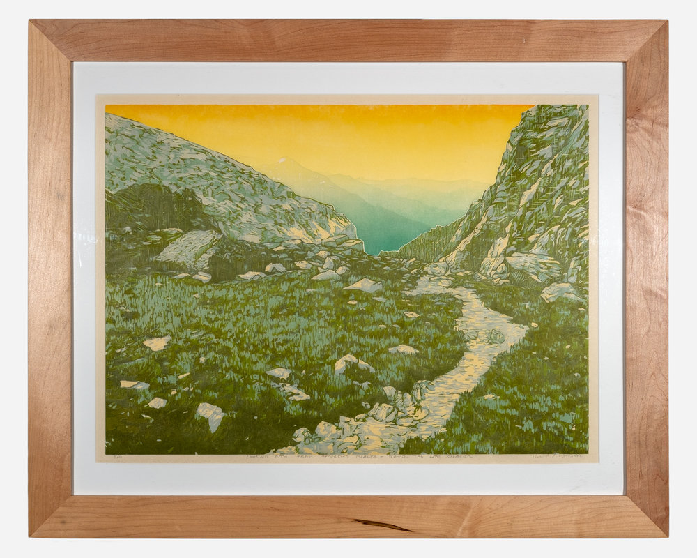 Looking East from Andrews Glacier    Framed woodcut print on Okawara Washi paper   17 x 24 inches TAN 017G