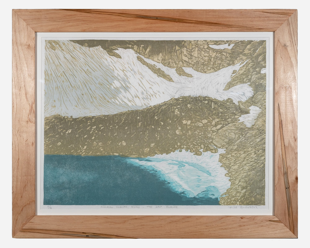 Moomaw Glacier    Framed woodcut print on Okawara Washi paper   30 x 24 inches TAN 040G