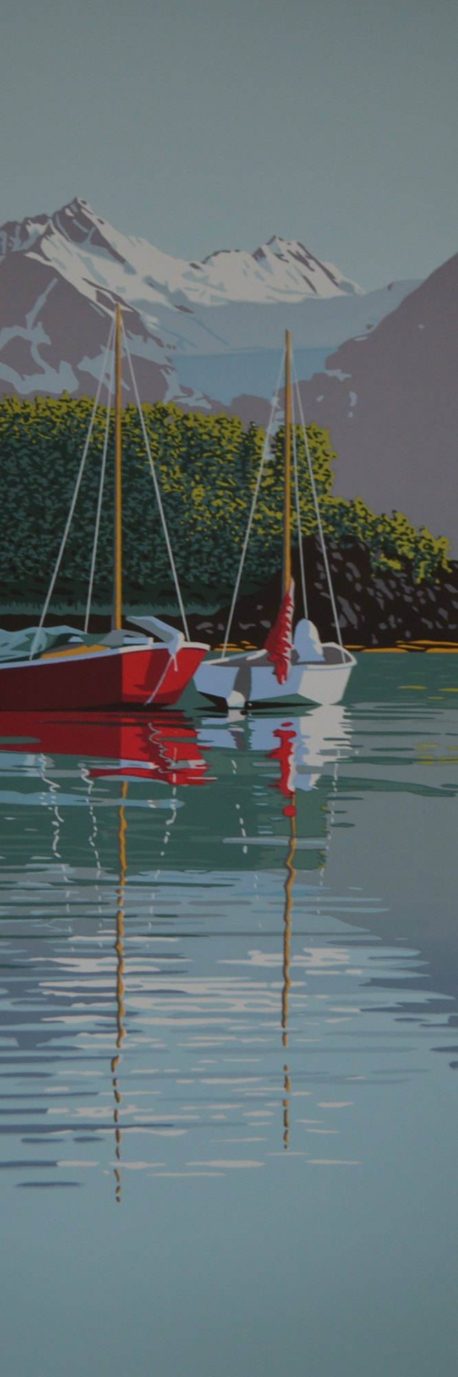Donna Catotti   Sailboats in Paradise Cove S erigraph (silkscreen) 18 x 6 inches, APS 208G
