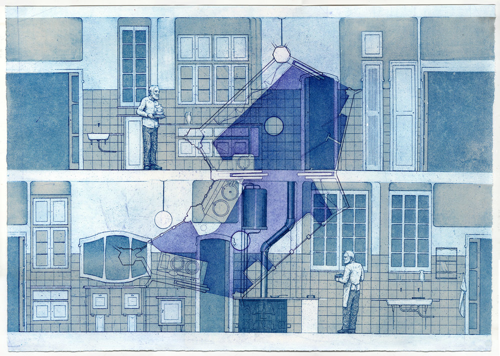 Andrew DeCaen   Gaudi Kitchen  Etching 16 x 21 inches, APS 213G