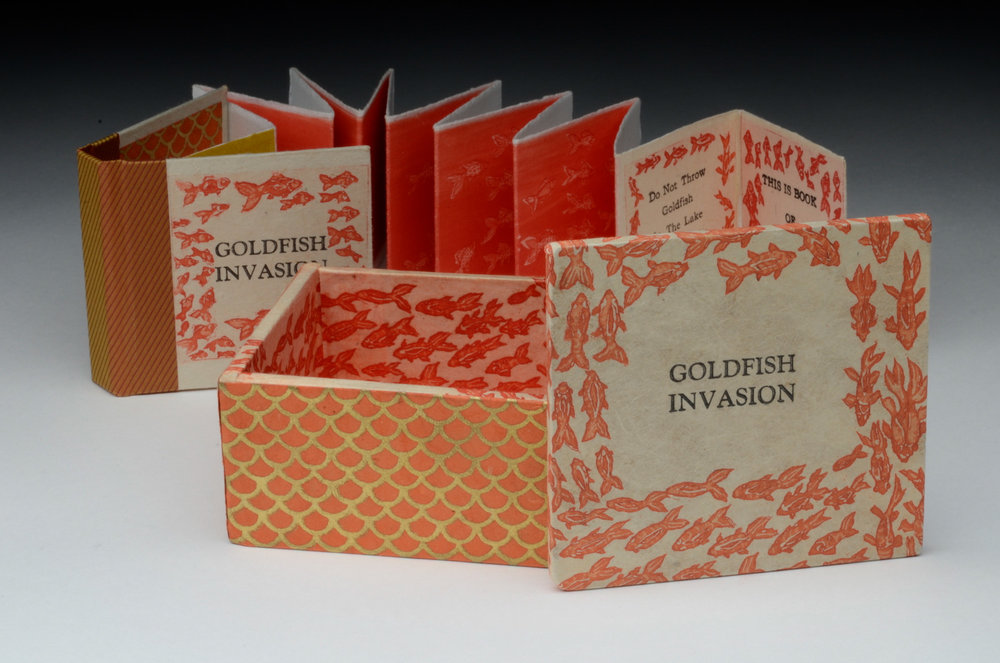 Sarojini Johnson    Goldfish Invasion  intaglio & letterpress artist's book 3 x 3 x 1.5 inches, APS 223G