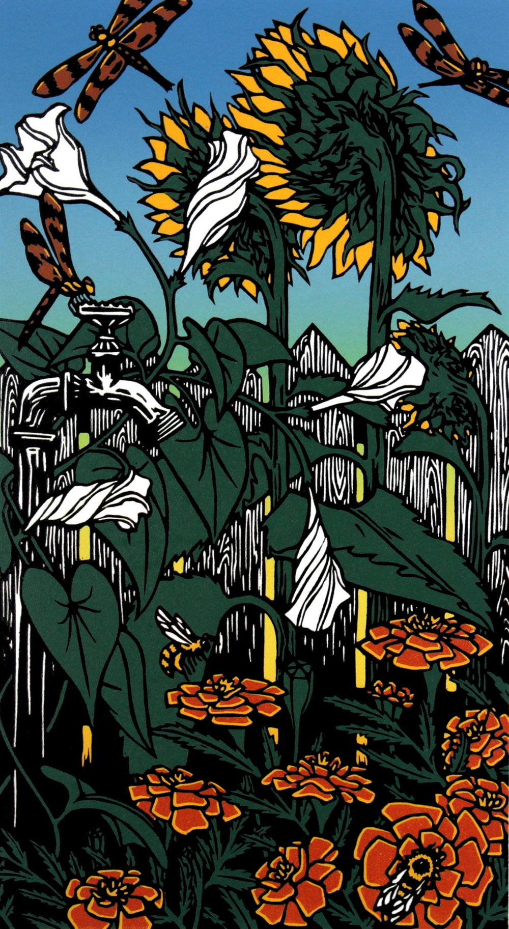 Emily Koehler    Astraeus's Garden  Color-Reduction Woodcut 18 x 10 inches, APS 225G