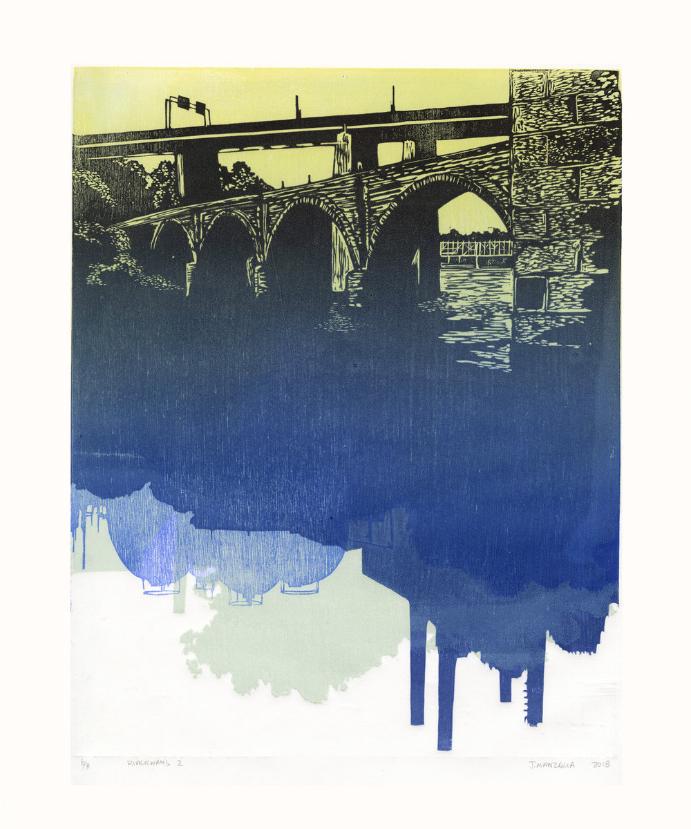 Jennifer Manzella   Riverways 1  Multiple Wood Block Print 20 x 16 inches, APS 233G