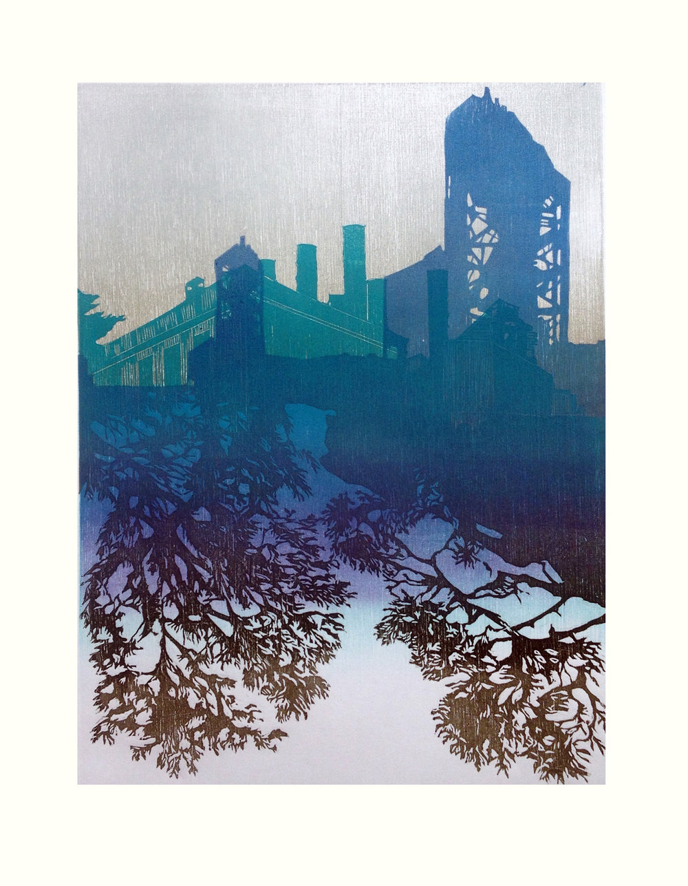 Jennifer Manzella   Skylines 3  Multiple Woodblock Print 20 x 16 inches, APS 234G