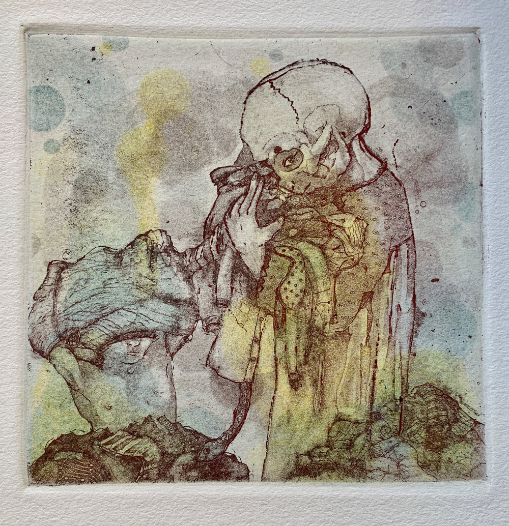 Akemi Ohira   Dirty Laundry  intaglio 5.5 x 5.5 inches, APS 242G