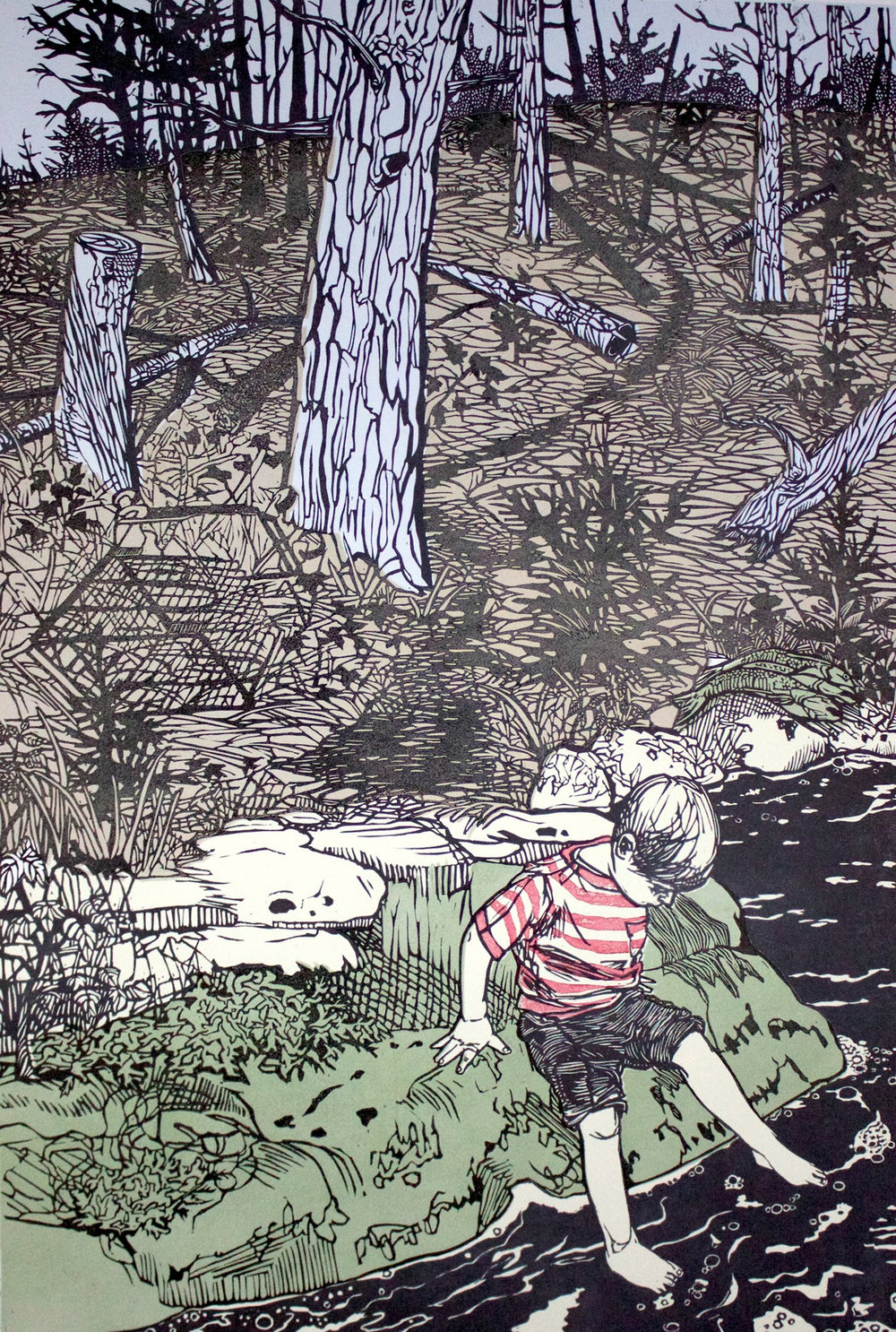 Laura Peturson   Testing the Water   linocut  25 x 16.75 inches, APS 243G
