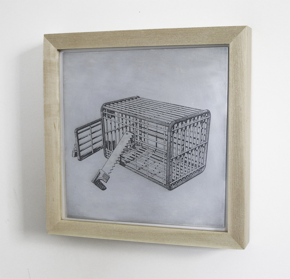 Structure No. 42   Etching on Metal  10 x 10 inches