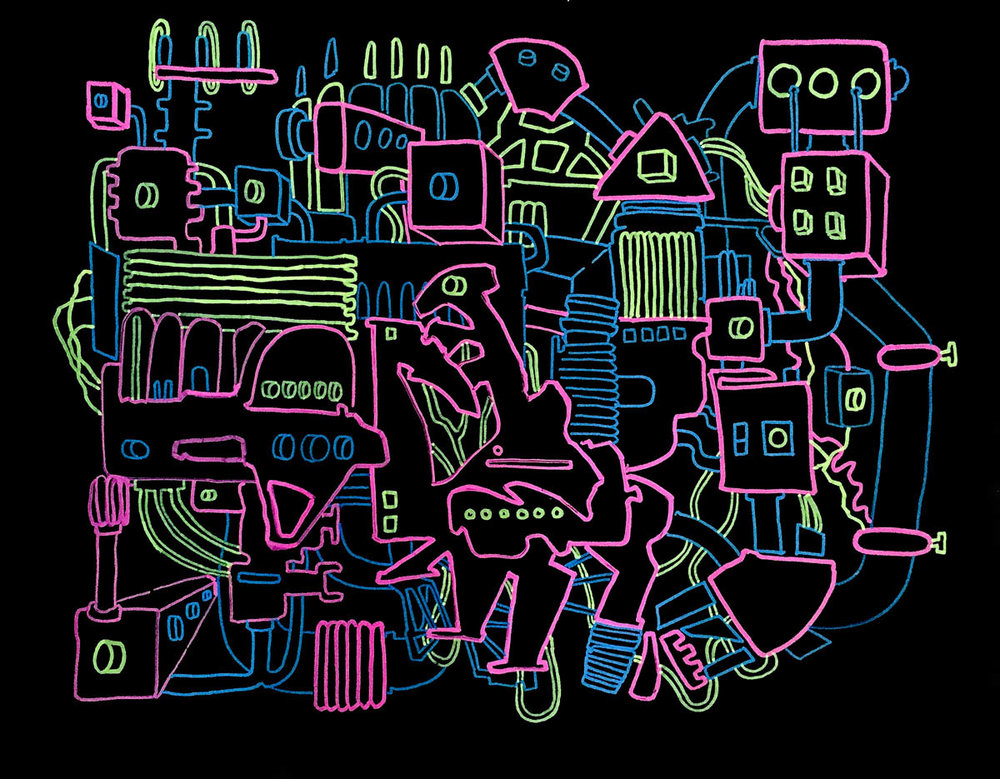 Andrew Muñoz Time Machine acrylic and marker on black paper 22 x 28 inches AMU 005G.jpg