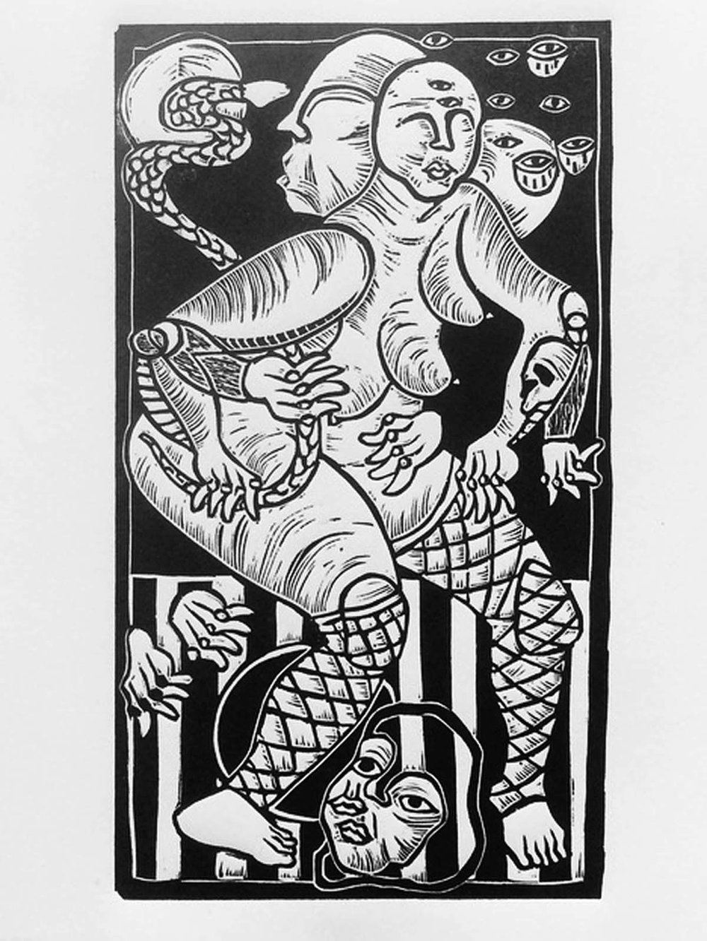Ashley Gattis Embraceable (edition of 3) relief print 6 x 9.5 inches AGA 001G.jpg