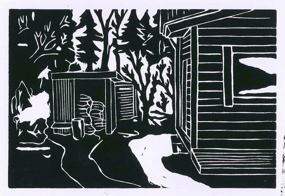 Christoph Nowak Backyard Lafayette, LA August 2015 - Black linocut 4.1 x 6.1 inches CNO 002G.jpg