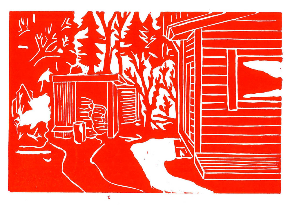 Christoph Nowak Backyard Lafayette, LA August 2015 - Red linocut 4.1 x 6.1 inches CNO 003G.jpg