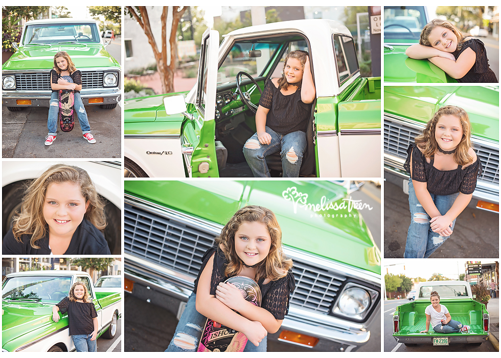 teen skateboard girl with antique green truck greensboro photographer family child portraits burlington nc.jpg
