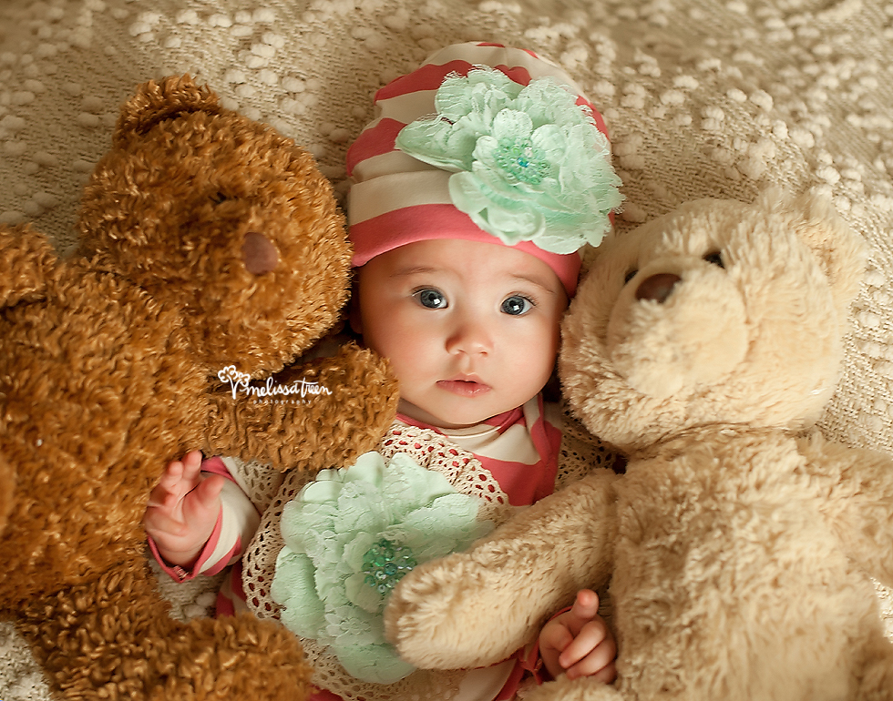 4 month baby girl photos with teddy bears lace bows high point north carolina.jpg