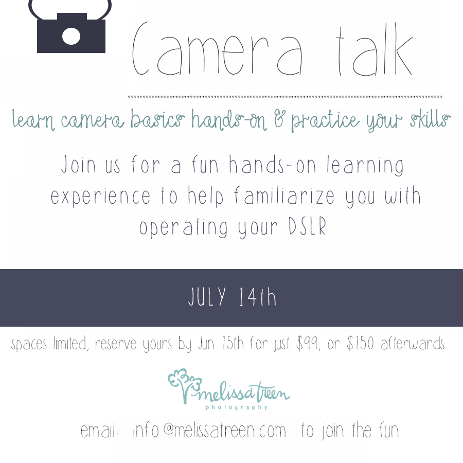 For those following us on Instagram, you may have noticed our BIG announcement last week ... we acquired a new studio space.  This space is an answer to prayer and will provide a larger area allowing us to host classes, workshops, seminars, events and more!  We are delighted to share our first opportunity with you :  Camera Talk!  For years we have been asked to offer something to help other learn the ins and outs of their DSLR cameras.  This is for you!  Sign up early for a special discount ... seating limited...email to reserve your spot