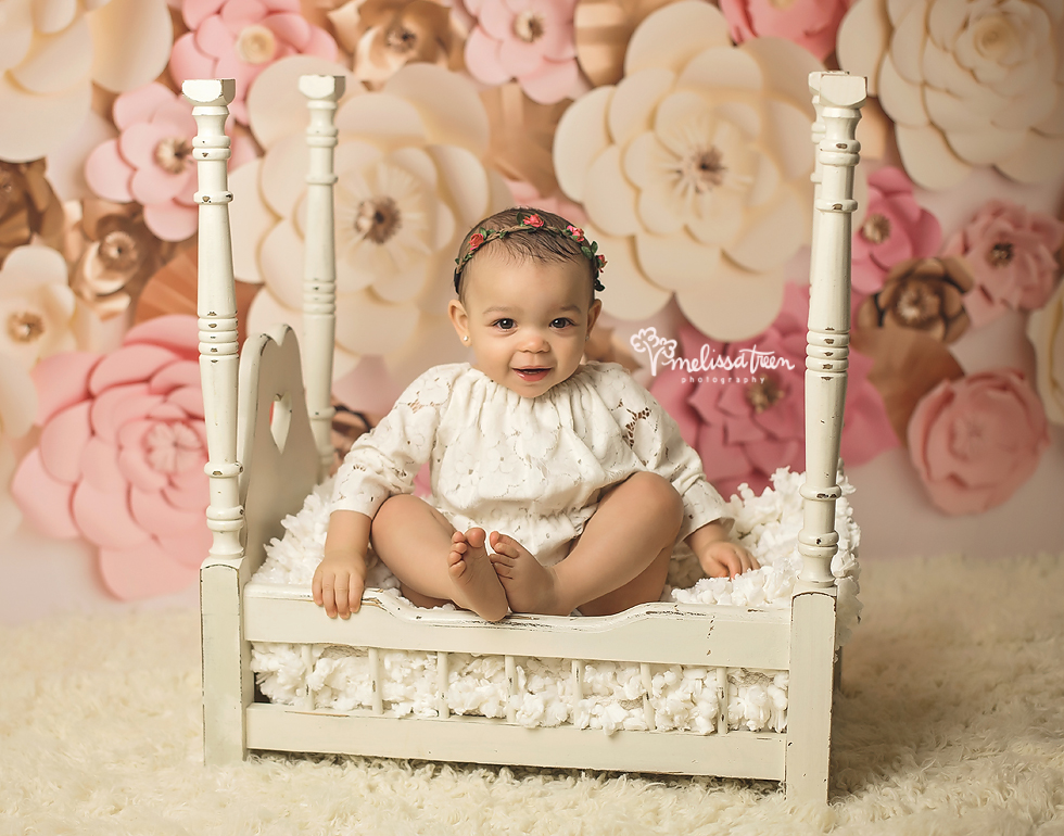 greensboro photographer baby one year birthday pictures pink and gold flowers 2.jpg
